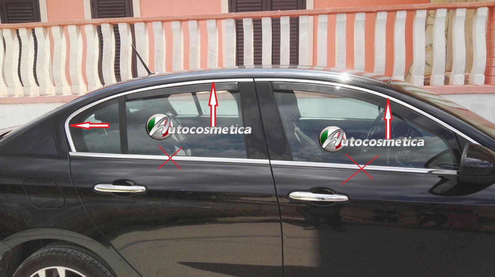 Set 12 Cover Cornici Finestrini Raschiavetri Acciaio Cromo Fiat Tipo SW 2016/>