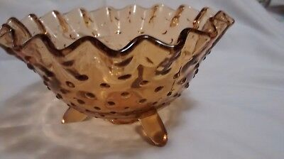 Amber Glass Hobnail 3-Footed Bowl With Fluted/Ruffled Rim
