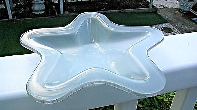 """Pretty ANNIEGLASS STAR PLATE: Frosted Glass, Platinum Trim, 8"""",  Signed, 1999-9"""