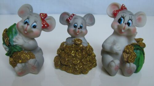 "Rare  Figurines three mice, ceramics, 1.8-2.1""(2)"