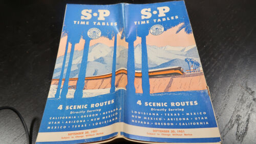 Public Railroad Timetable September 30 1951 Southern Pacific SP