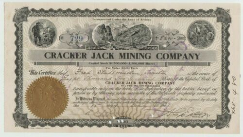 1906 Cracker Jack Mining Company Stock Certificate Arizona