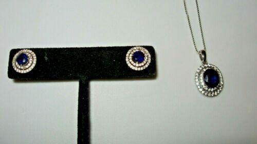 Mahaleo Blue Sapphire and White Zircon Earrings and Pendant