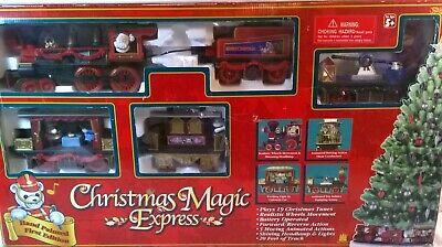 1996 Christmas Magic Express Train Set Plays 19 Songs Music Motion w/Box #5430
