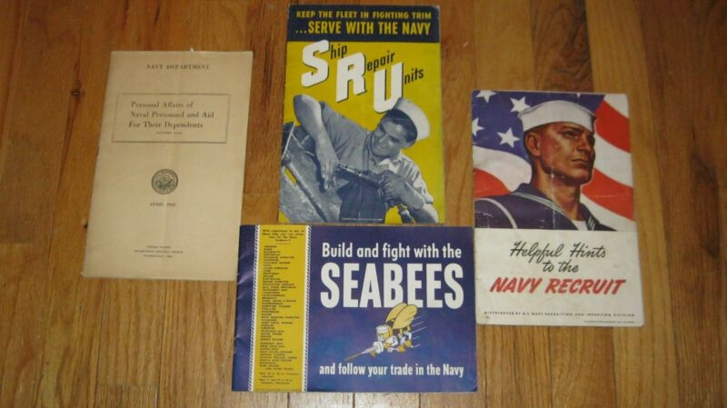 WW2 ORIGINAL NAVY LOT OF 4 RECRUITING NAVAL PERSONAL BOOKLETS- GREAT GRAPHICS