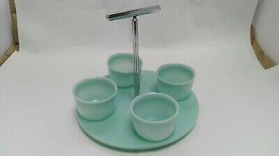 Vintage Mid Century Modern Plastic EGG CUP SET stand Art Deco Style ID3261 B008