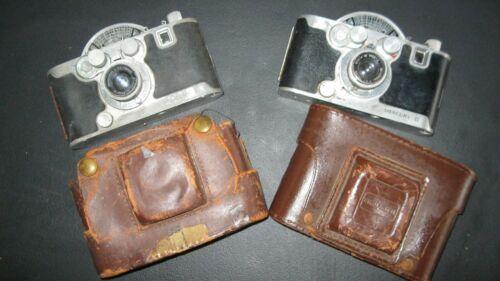 2 Vintage Mercury II Model CX Viewfinder Cameras 35mm Leather Cases