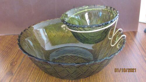 ANCHOR HOCKING FIRE KING GREEN GLASS CHIP & DIP BOWL SET