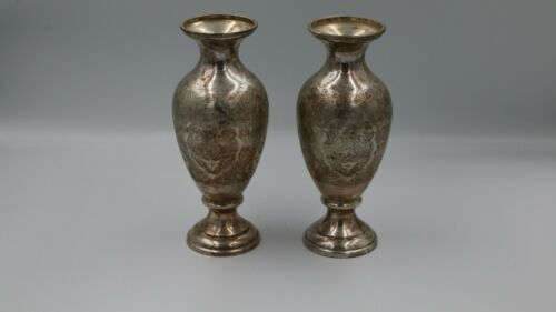 Antique Persian Isfahan Qalamzani pair Vase silver 84 Handmade 553 gram marked