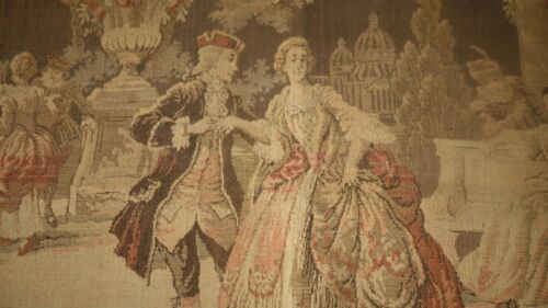 ANTIQUE FRENCH TAPESTRY FILLED W FRENCH MALE FEMALE FIGURES COURTYARD ROMANTIC
