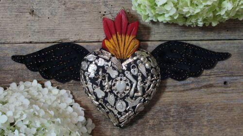 Handmade Wood Black Heart Milagro & Tin Wings Miracle Mexican Folk Art Michoacán