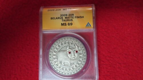 Belarus Zodiac Signs Taurus Silver Coin Anacs PF69 Antique Matte Finish Pop 1