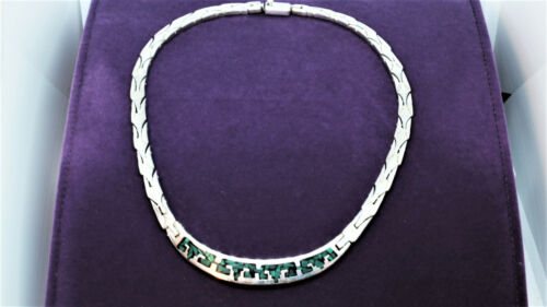 Southwestern Taxco Tribal Motif Malachite Inlay Sterling Silver Collar Necklace