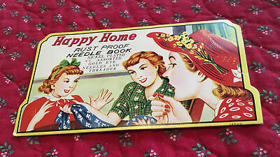 Antique Vintage Needle Book Sample Case Advertising Happy Home