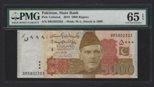 2019 PAKISTAN 5000 Rupees, Brand New Highest Denom & Scarce, PMG 65 EPQ GEM UNC