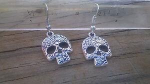 Day of the Dead Dia De Los Muertos Skull Sterling Silver French Hook Earrings