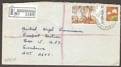 1978 Australia WARRINGAH MALL NSW REGISTERED MAIL $2 Painting & 18c Flower (Warringah Mall)