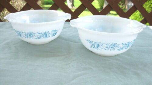 2 Vintage GLASBAKE 1.5pt Bowls ~ #J-2354~ white with Blue Thistle Pattern