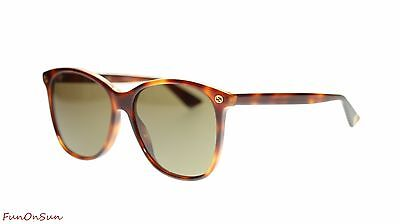 Gucci Women Square Sunglasses GG0024S 002 Havana/Brown Lens 58mm Authentic