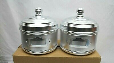 MATTE FINISH ALUMINIUM STORAGE CANISTER WITH LABEL HOLDER  2 PACK