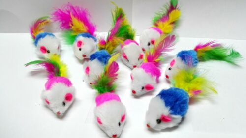 Fur Mice Cat Toys, Soft and Durable for Play , Catnip Mice for kittens. 10 Pack