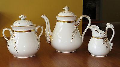Lovely Antique Porcelain Haviland Limoges Tea Set Wedding Ring Gold Floral
