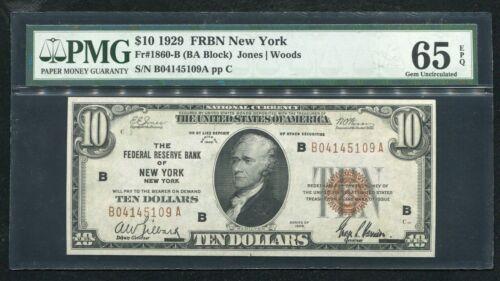 FR. 1860-B 1929 $10 FEDERAL RESERVE BANK NOTE NEW YORK, NY PMG GEM UNC-65EPQ