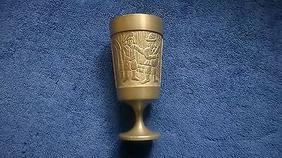 "PEWTER EMBOSSED GOBLET 4 3/4"" HUNTING SCENE REN SINN GERMANY"