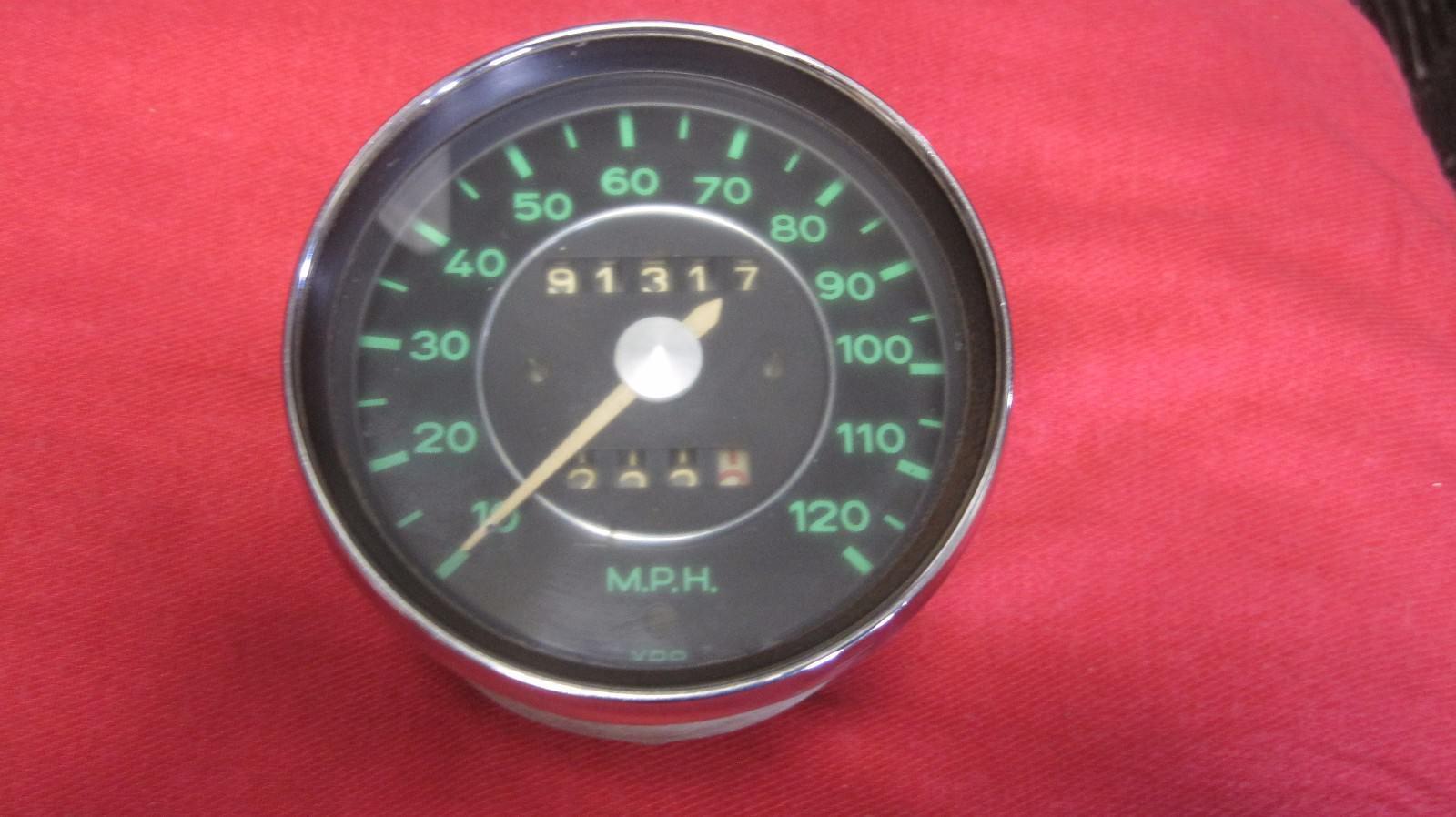Porsche VDO Green face Speedometer date stamped 6/65  902-741-102-12 GERMAN