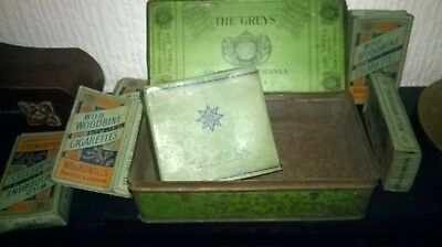VINTAGE `THE GREYS` CIGARETTE TIN + 6 WILD WOODBINE CIGARETTE PACKETS.  for sale  Shipping to South Africa