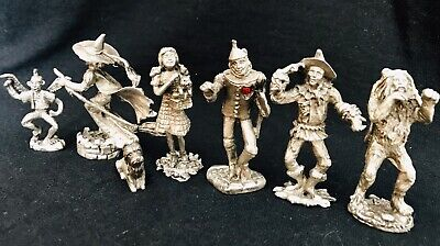 Pewter Wizard of Oz Dorothy Wicked Witch Tin Man Scarecrow Lion Figurines Set - Witch Wizard Of Oz