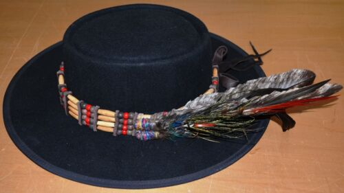Native American Indian artist Black Eagle bone hairpipe hatband, decorated