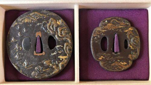 Masterful Pair of JAKUSHI School Tsuba with Ships Mountain Port Scene Edo Period