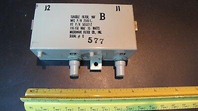 Vhf Tunable Bandpass Filter Tunable 116-150 Mhz Narrow Bw Power 15watts Tuned