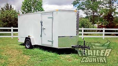 New 2019 6 X 12 V-nosed Enclosed Cargo Motorcycle Trailer Wramp Side Doors