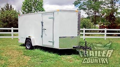 New 2020 6 X 12 V-nosed Enclosed Cargo Motorcycle Trailer Wramp Side Doors