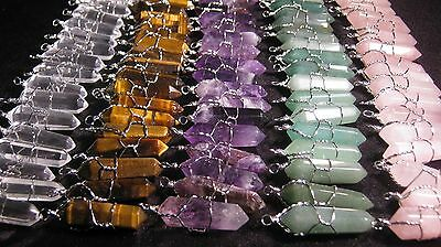 10 Pendants Lot Crystal Point Silver Wire Wrap Wrapped Charms U Pick Wholesale
