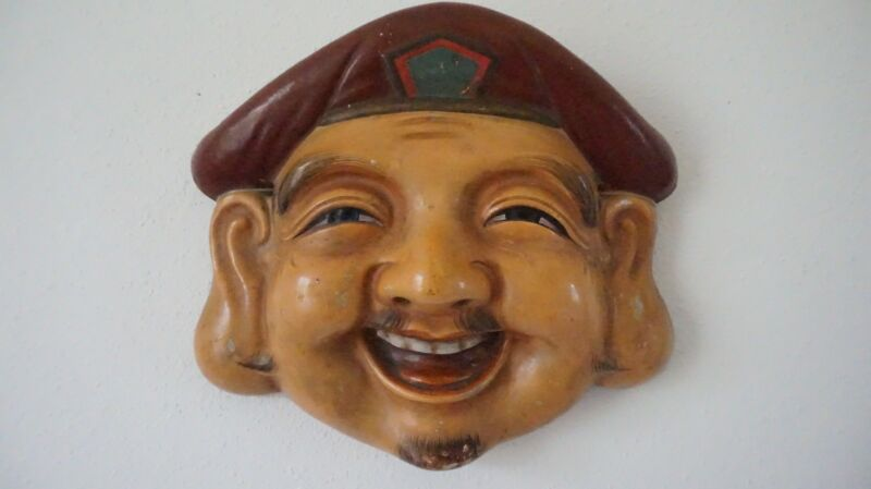 Very Fine Japanese Meiji Period Polychrome Mud Clay Mask Man with Brown Hat