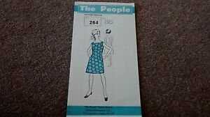 Vintage Sewing Pattern - 1960s shift dress  feature neck 38