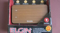 Elgin 1.2 red led display with woodgrain finish digital clock