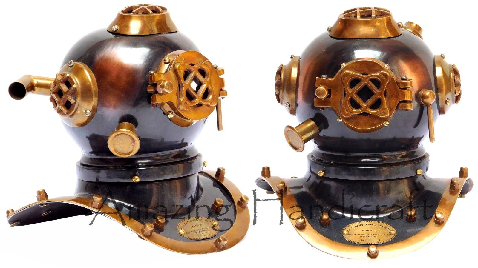 Antique Brass Deep Sea US Navy Mark V Diving Marine Scuba Divers Helmet 8''