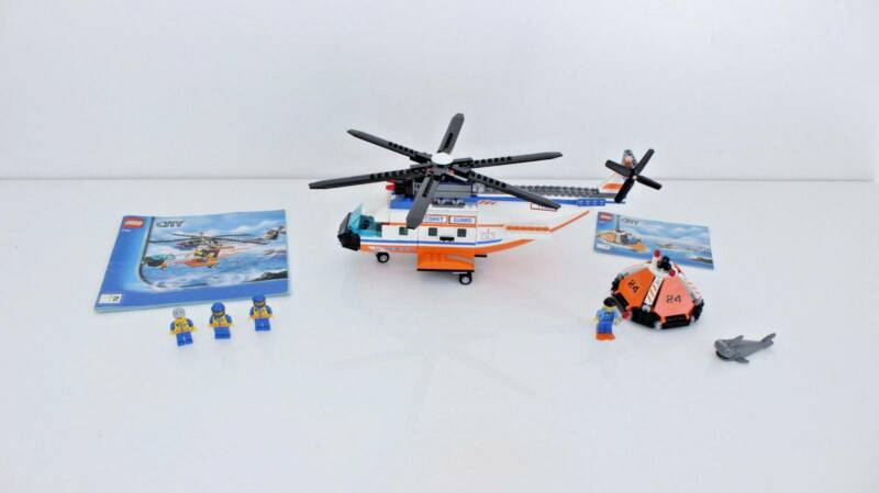 Lego City Coast Guard Helicopter And Life Raft 7738 Excellent