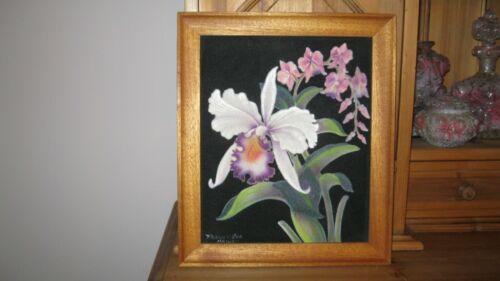 VTG Frank Oda Orchid Painting on Velvet White pink Lavender Cattleya Vanda signd