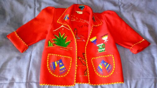 Vintage Mexican Souvenir Embroidered Wool Child