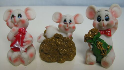 "Rare Figurines three mice, ceramics, 1.8-2.1""(4)"