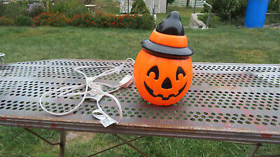 Halloween Blow Mold Light-Up Jack-O-Lantern JOL Pumpkin Witches Hat Empire 1995
