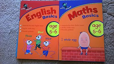 LEAP AHEAD MATHS & ENGLISH BASICS AGE 5-6. 2 BOOKS. FOR HOME EDUCATION.