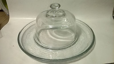 SERVING GLASS PLATTER W/GLASS LID FOR PARTIES AND SO ON, GREAT CONDITION](Serving Platters For Parties)