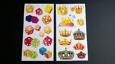 Würfel & Kronen - 21 kleine Mini Sticker auf 2 Bögen - 2 Bogen Aufkleber