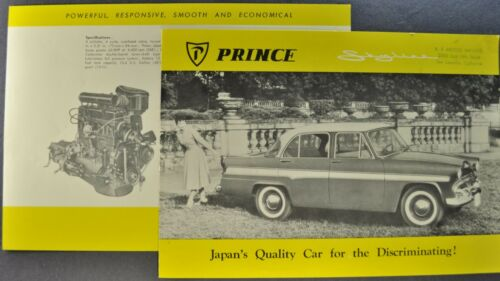 1959 Prince Skyline Sedan Brochure Folder Fuji Ind. Subaru Excellent Original 59